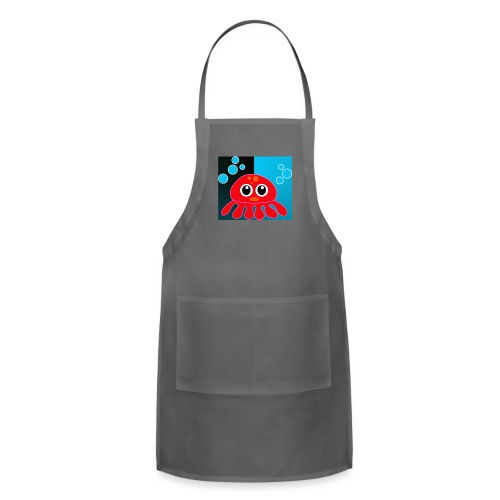 Red Octopus on Blue/Black - Adjustable Apron