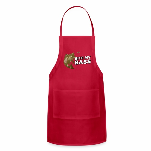 Bass Chasing a Lure with saying Bite My Bass - Adjustable Apron