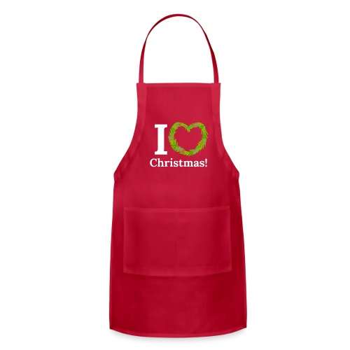 I Love Heart Christmas - Xmas Wreath Design! - Adjustable Apron