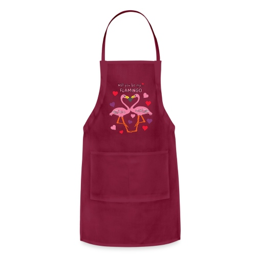 Will You be my Flamingo Valentine Kisses - Adjustable Apron