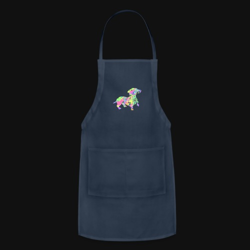 dachshund silhouette splatter - Adjustable Apron