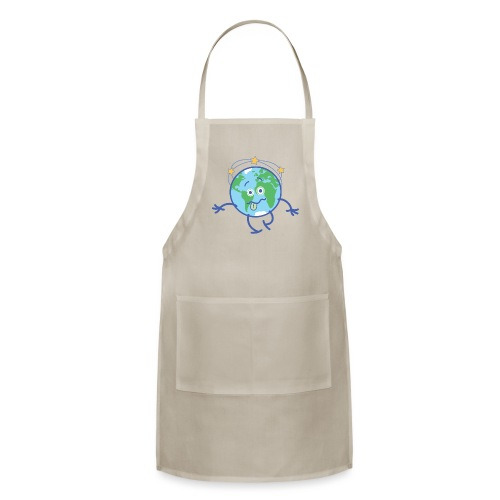 Cartoon Earth walking unsteadily and feeling dizzy - Adjustable Apron