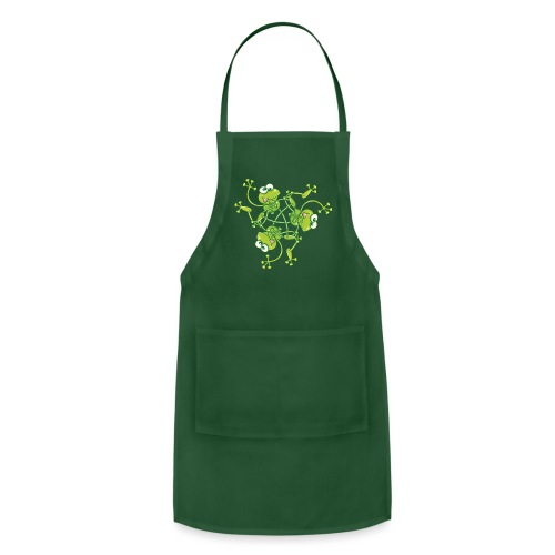 Frogs having fun when rotating in a pattern design - Adjustable Apron