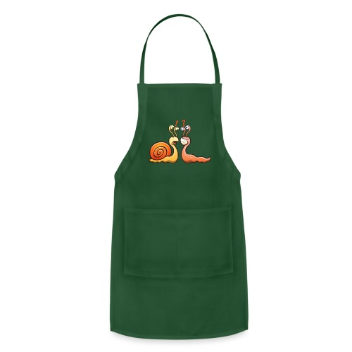A snail carrying shell meets a slug wearing mask - Adjustable Apron