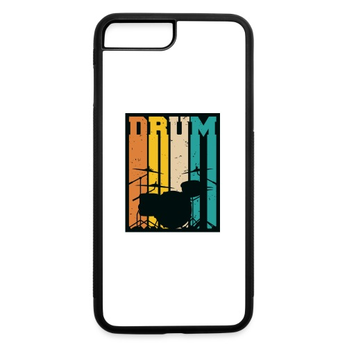 Retro Drum Set Silhouette Illustration - iPhone 7 Plus/8 Plus Rubber Case