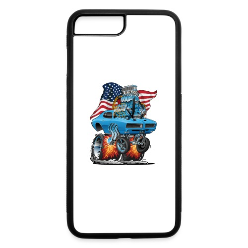 Patriotic Sixties American Muscle Car with Flag - iPhone 7 Plus/8 Plus Rubber Case