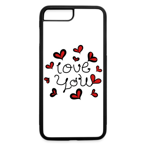 Love You hand-drawn font with hearts 1 - iPhone 7 Plus/8 Plus Rubber Case
