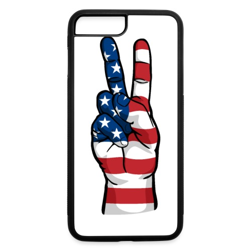 hand peace sign USA T small - iPhone 7 Plus/8 Plus Rubber Case