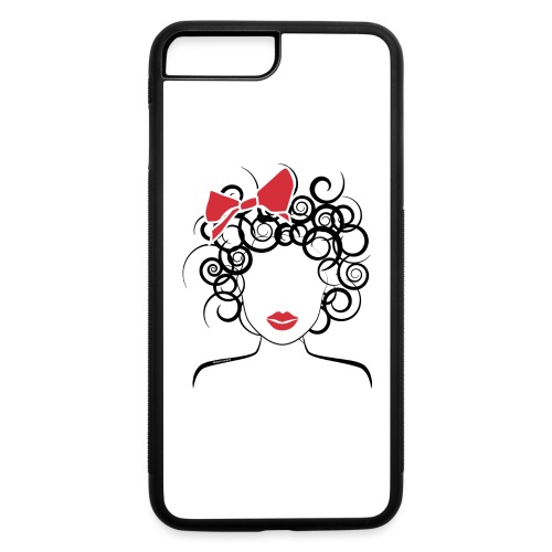 Curly Girl with Red Bow_Global Couture_logo T-Shir - iPhone 7 Plus/8 Plus Rubber Case