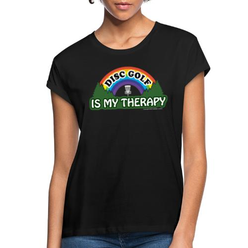 Disc Golf is My Therapy Rainbow Basket Shirt Gifts - Women's Relaxed Fit T-Shirt