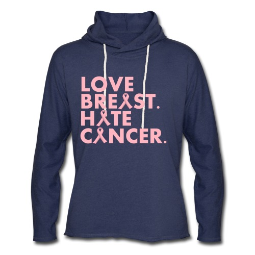 Love Breast. Hate Cancer. Breast Cancer Awareness) - Unisex Lightweight Terry Hoodie