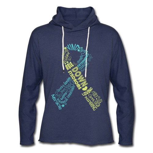 Down syndrome Ribbon Wordle - Unisex Lightweight Terry Hoodie