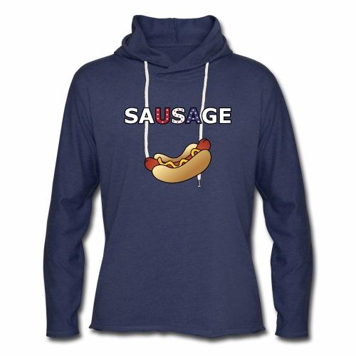 Patriotic BBQ Sausage - Unisex Lightweight Terry Hoodie