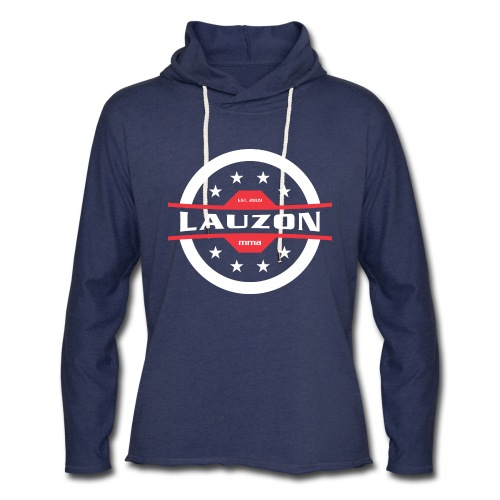 White on Black Lauzon MMA Logo w No Words - Unisex Lightweight Terry Hoodie