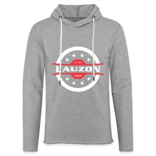White on Black Lauzon MMA Logo w No Words - Unisex Lightweight Terry Hoodie