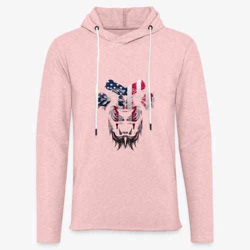 American Flag Lion Shirt - Unisex Lightweight Terry Hoodie
