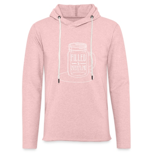 Filled to Overflow White - Unisex Lightweight Terry Hoodie