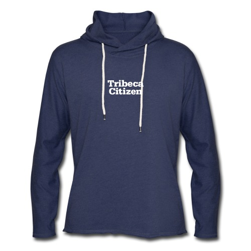 tribeca citizen stacked logo in white - Unisex Lightweight Terry Hoodie