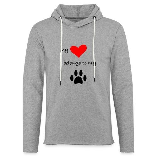 Dog Lovers shirt - My Heart Belongs to my Dog - Unisex Lightweight Terry Hoodie