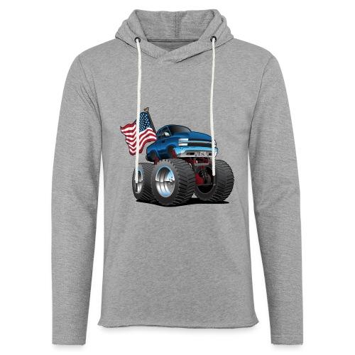 Monster Pickup Truck with USA Flag Cartoon - Unisex Lightweight Terry Hoodie