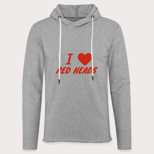 I HEART RED HEADS - Unisex Lightweight Terry Hoodie