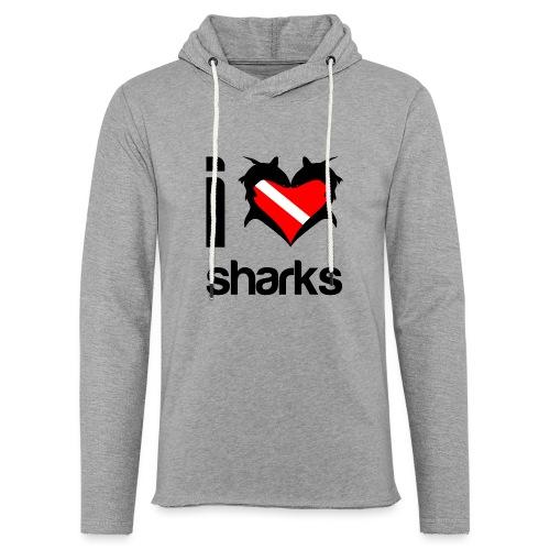 I Love Sharks - Unisex Lightweight Terry Hoodie