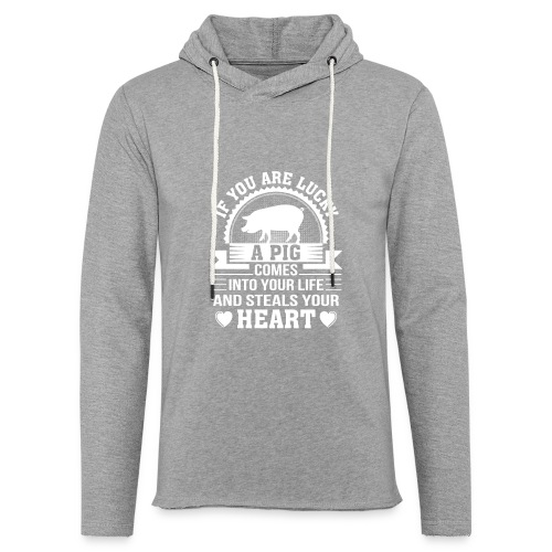 Mini Pig Comes Your Life Steals Heart - Unisex Lightweight Terry Hoodie