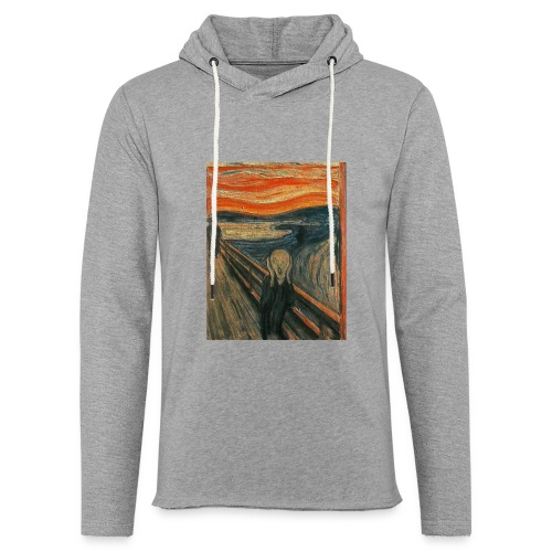 The Scream (Textured) by Edvard Munch - Unisex Lightweight Terry Hoodie