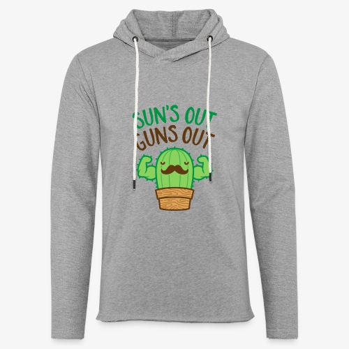 Sun's Out Guns Out Macho Cactus - Unisex Lightweight Terry Hoodie