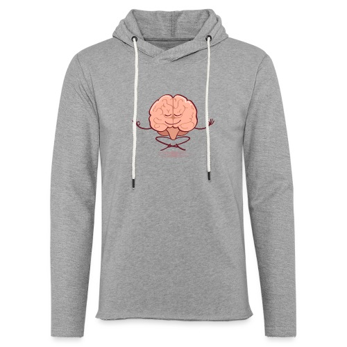 Cartoon brain meditating in lotus pose - Unisex Lightweight Terry Hoodie