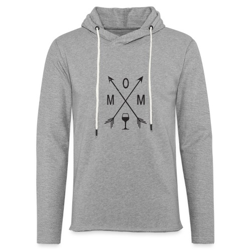 Mom Loves Wine (black ink) - Unisex Lightweight Terry Hoodie