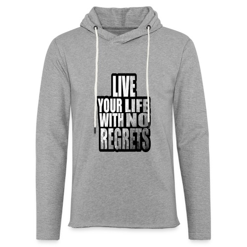 Live Your Life With No Regrets T-shirt (Black) - Unisex Lightweight Terry Hoodie
