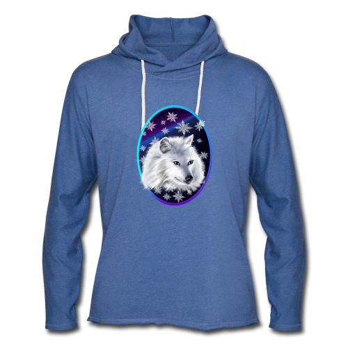 WHITE SNOW WOLF Oval - Unisex Lightweight Terry Hoodie