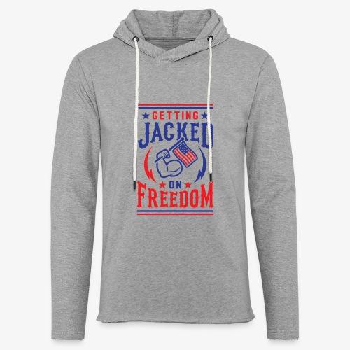 Getting Jacked On Freedom - Unisex Lightweight Terry Hoodie