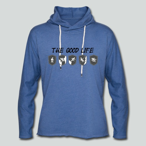THE GOOD LIFE-on light front-2 sided - Unisex Lightweight Terry Hoodie