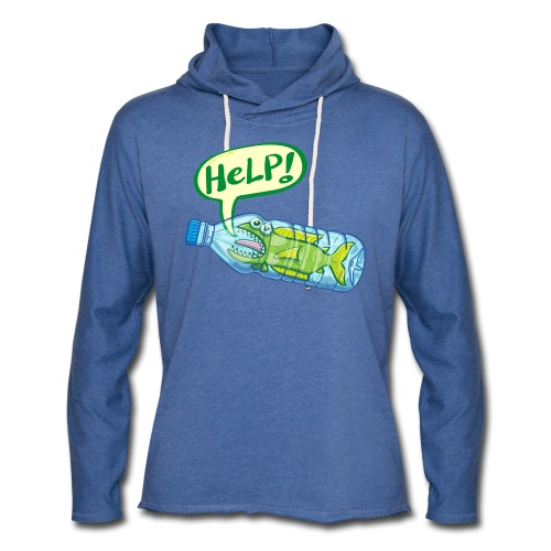 Fish inside a plastic bottle asking for help - Unisex Lightweight Terry Hoodie