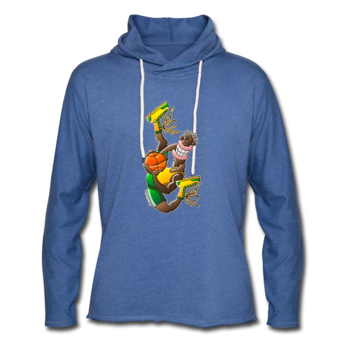 Acrobatic basketball player performing a high jump - Unisex Lightweight Terry Hoodie
