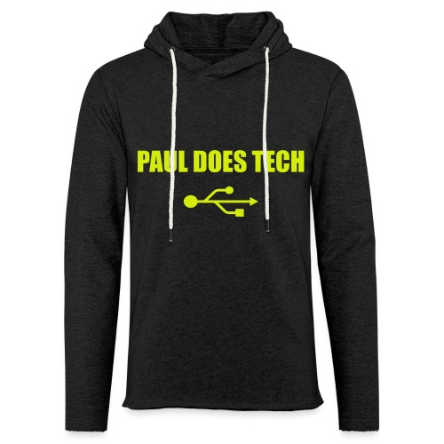 Paul Does Tech Logo Yellow With USB (BS) - Unisex Lightweight Terry Hoodie