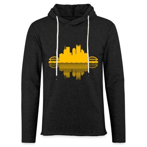 Pittsburgh Skyline Reflection (Gold) - Unisex Lightweight Terry Hoodie