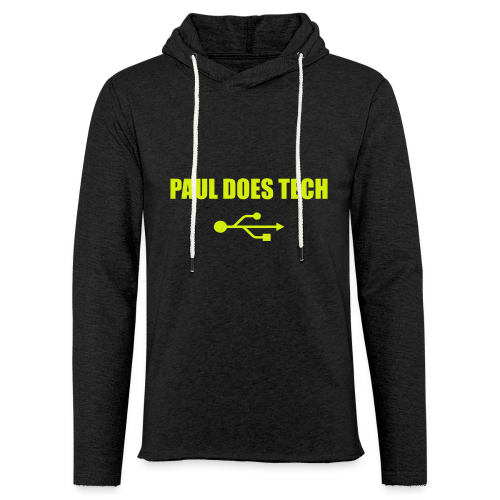 Paul Does Tech Yellow Logo With USB (MERCH) - Unisex Lightweight Terry Hoodie