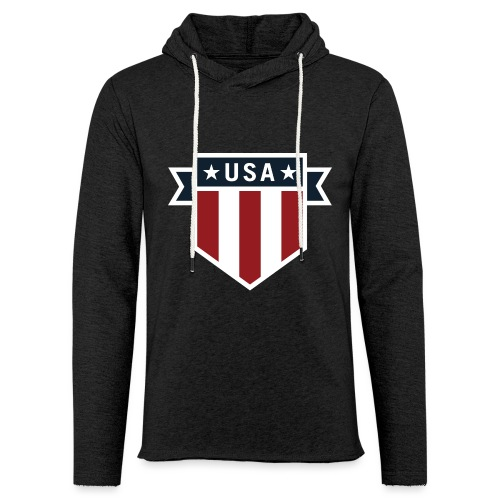 USA Pride Red White and Blue Patriotic Shield - Unisex Lightweight Terry Hoodie