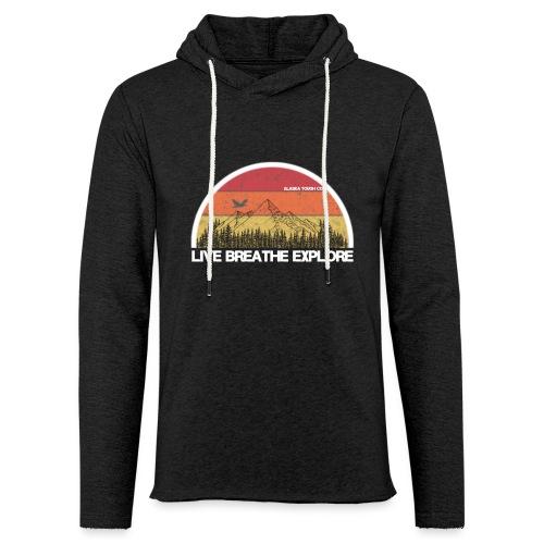 Live Breathe Explore Mountain - Unisex Lightweight Terry Hoodie