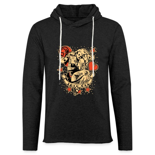 Screwed & tattooed Pin Up Zombie - Unisex Lightweight Terry Hoodie