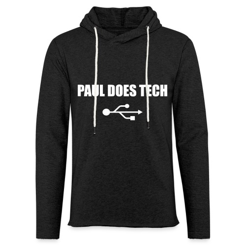 Paul Does Tech White Logo With USB - Unisex Lightweight Terry Hoodie