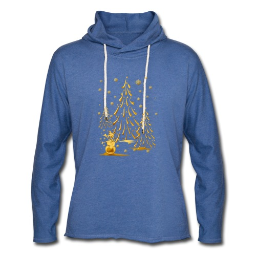 Gold Snowman and Christmas Tree - Unisex Lightweight Terry Hoodie