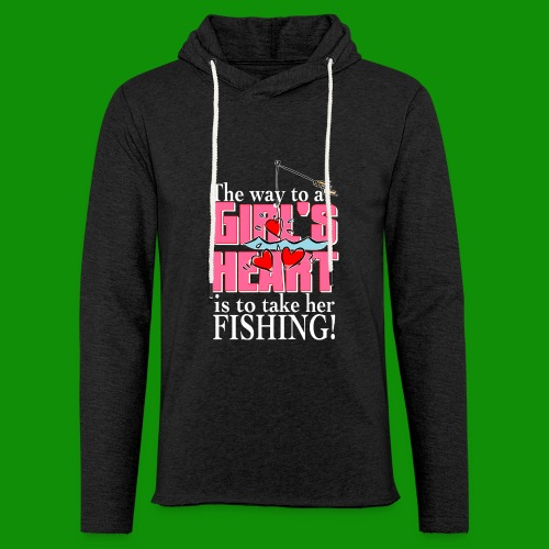 Fishing - Way to a Girl's Heart - Unisex Lightweight Terry Hoodie