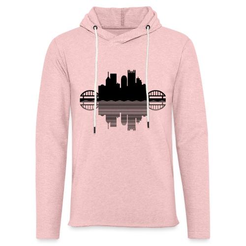 Pittsburgh Skyline Reflection (Black) - Unisex Lightweight Terry Hoodie