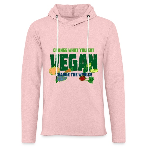Change what you eat, change the world - Vegan - Unisex Lightweight Terry Hoodie