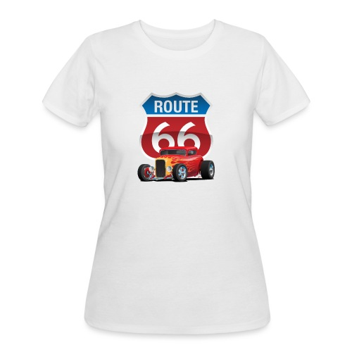 Route 66 Sign with Classic American Red Hotrod - Women's 50/50 T-Shirt