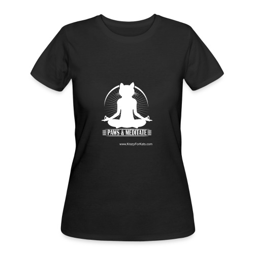Paws and Meditate, White, Krazy For Kats - Women's 50/50 T-Shirt